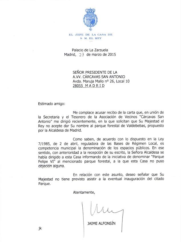 Carta Casa Real